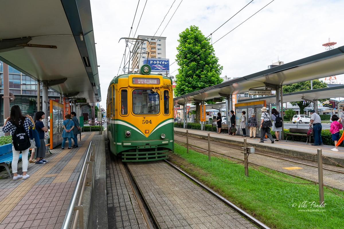 Streetcar at Kagoshima-chuo Station