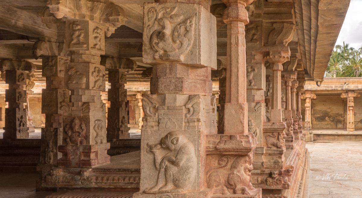 Beautifully carved pillars at the Bhoga Nandishwara Temple
