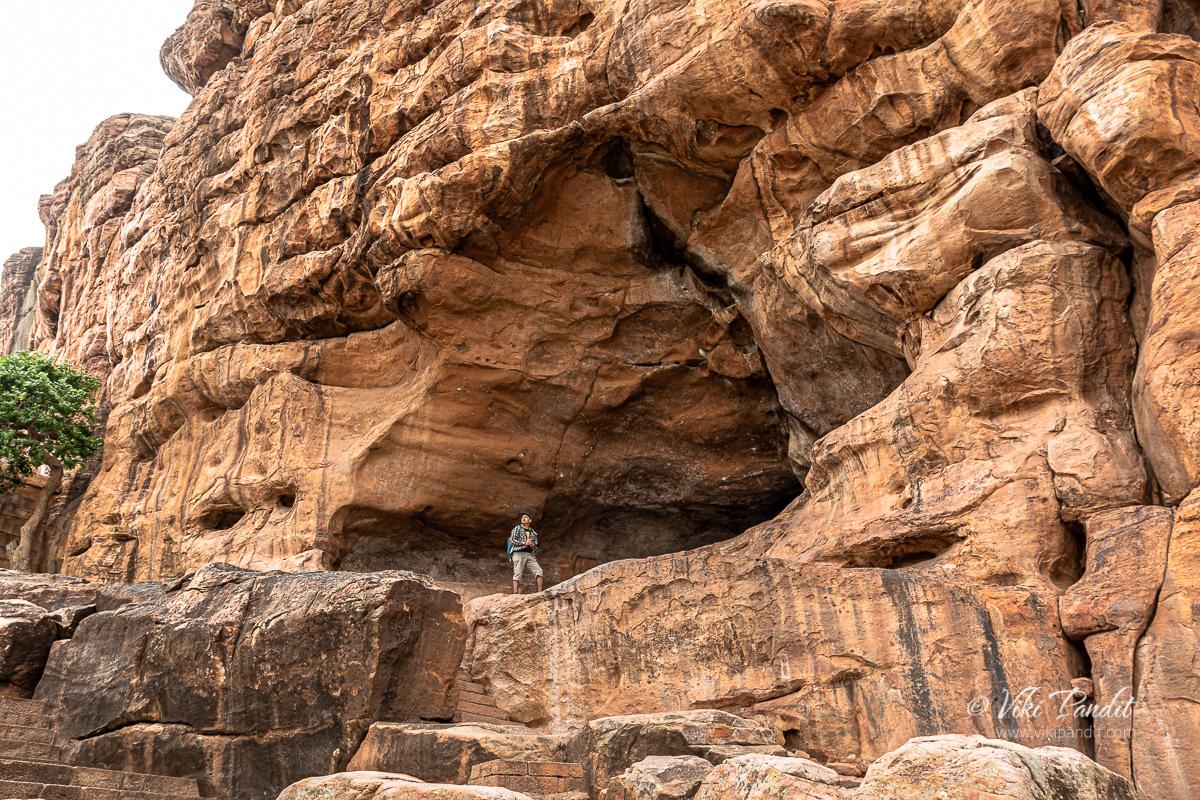 Viki exploring a natural cave formation