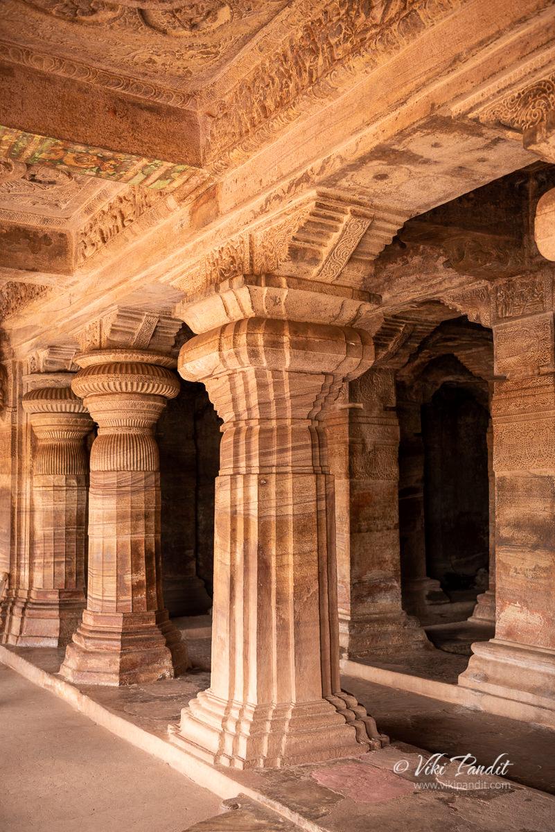 Pillar carvings inside Cave Temple 3