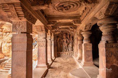 Harihara with Parvati and Lakshmi in Badami Cave Temple