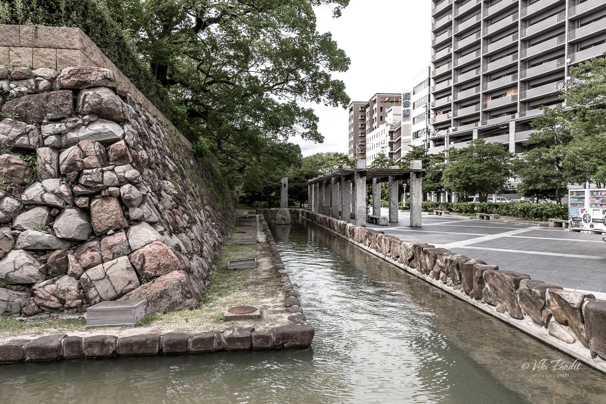 Moat surrounding Fukuyama Castle Grounds