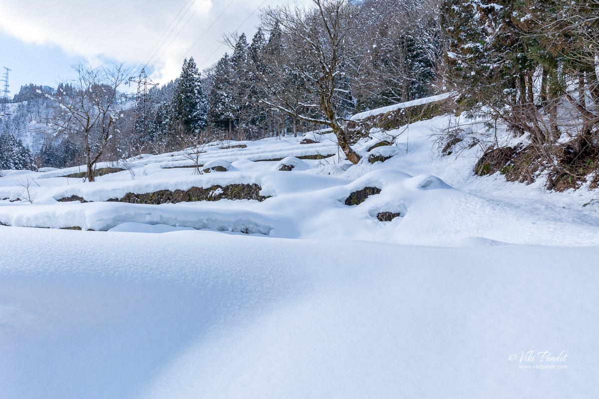 Snow covered Ainokura Village