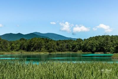 Benten-numa on the Goshiki-numa Nature Trail with Mt. Issaikyo and Mt. Azuma Kofuji in the background