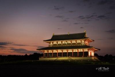 Illuminated Daigokuden Hall  at Dusk