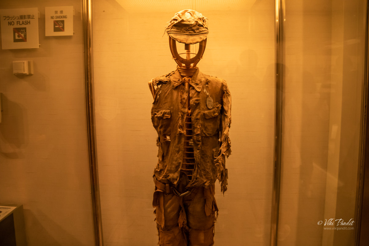 A burnt uniform from the Atomic Bomb explosion in Hiroshima