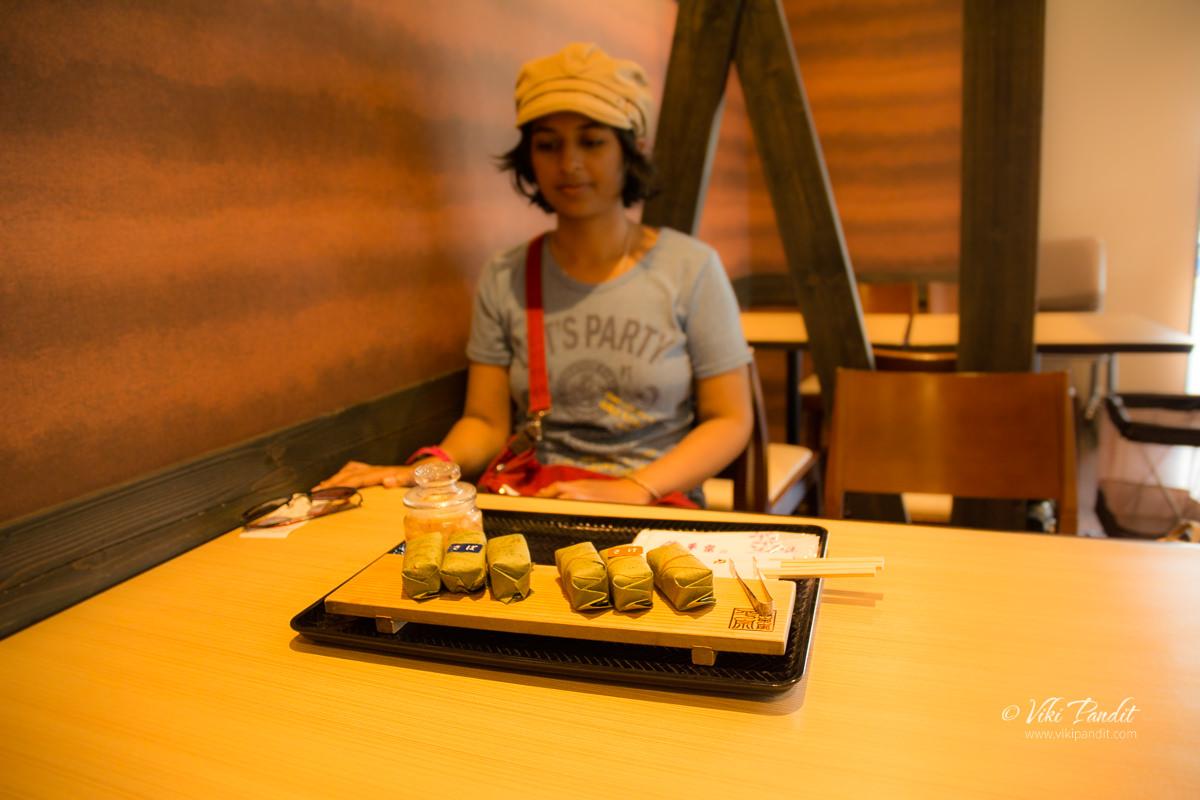 Trying the Kakinoha-Sushi near Horyu-ji Temple