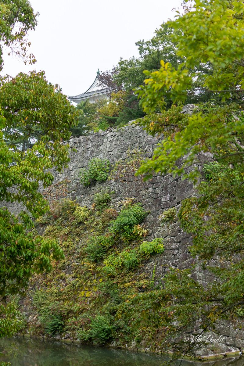 Moat and Stone Wall surrounding Iga Ueno Caste