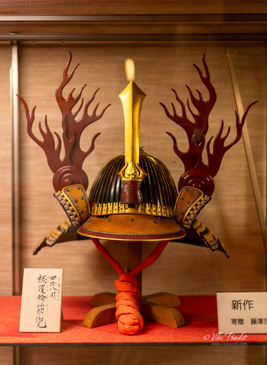 A Sujikabuto helmet on display at Iga Ueno Castle