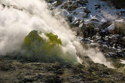 Yellow crystals of sulphur on Mount Io