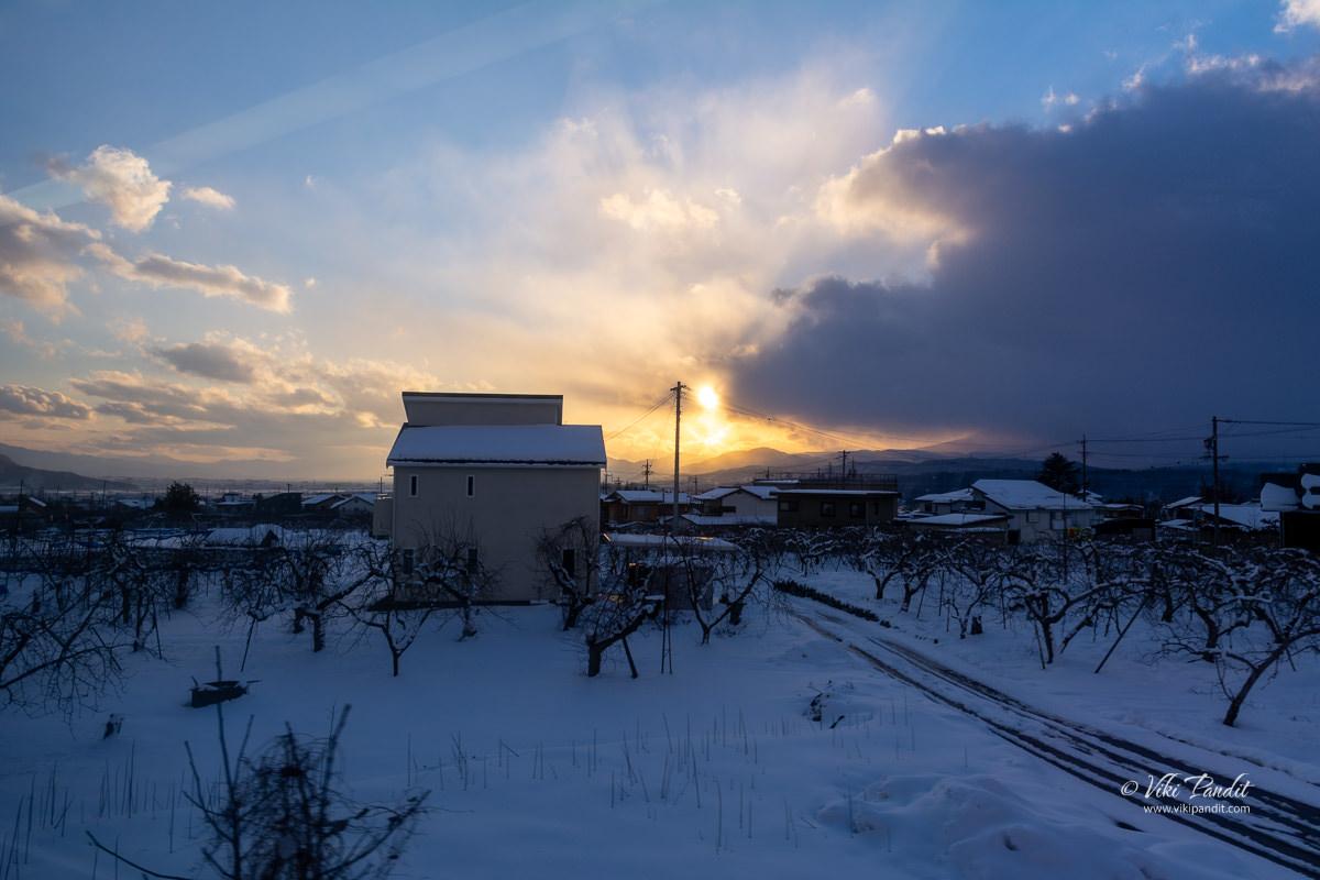 Sunset over Yudanaka