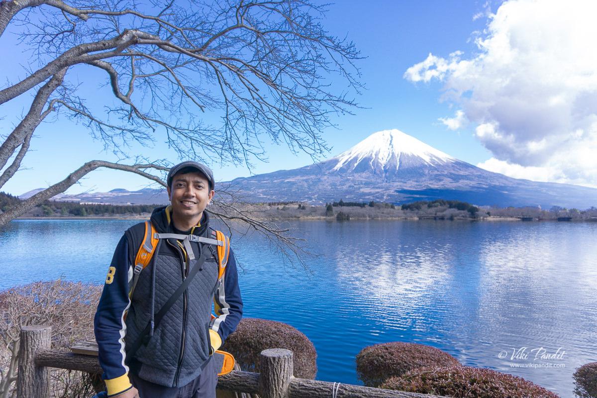 Viki at Lake Tanuki with Mt. Fuji in the background