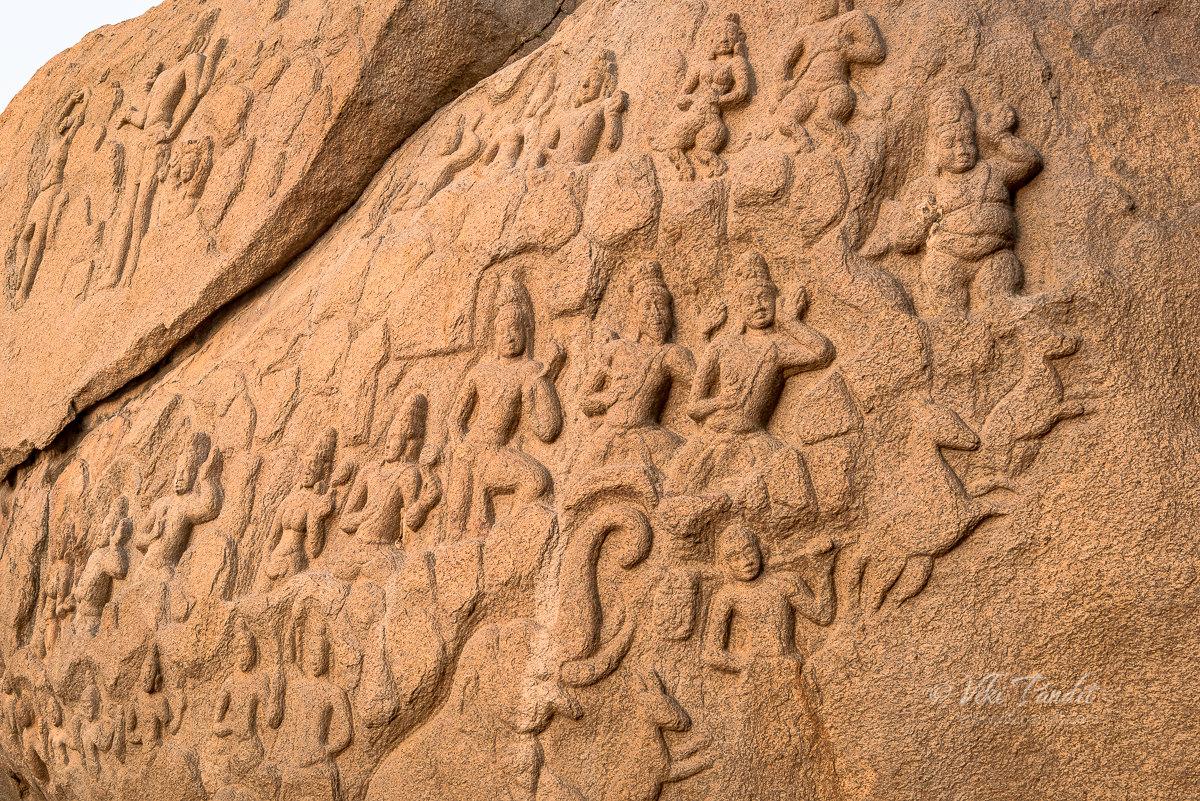 Bas reliefs at the edge of the Cliff near Mahabalipuram lighthouse