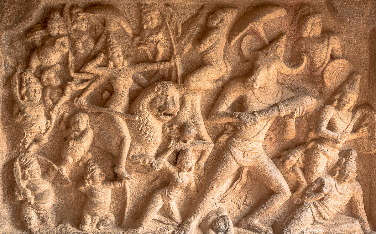Durga relief at Mahisamardini Cave