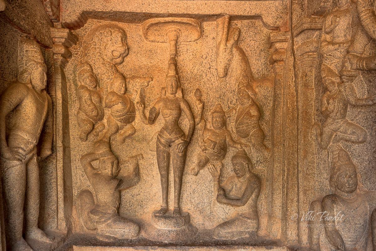 Bas relief sculpture of Durga