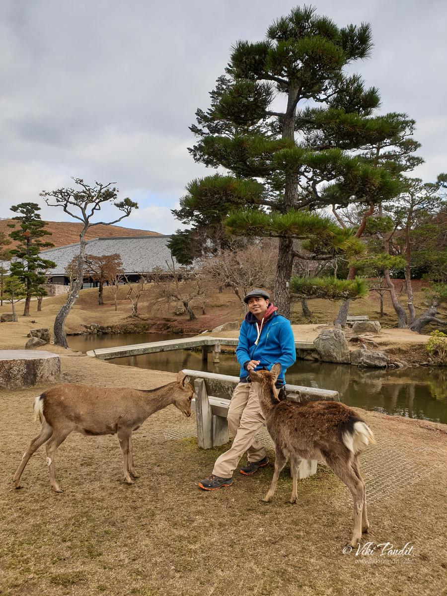 Viki with Derr at Nara Park