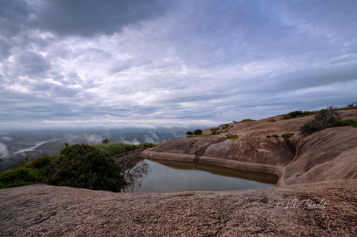 Natural pond atop Savandurga