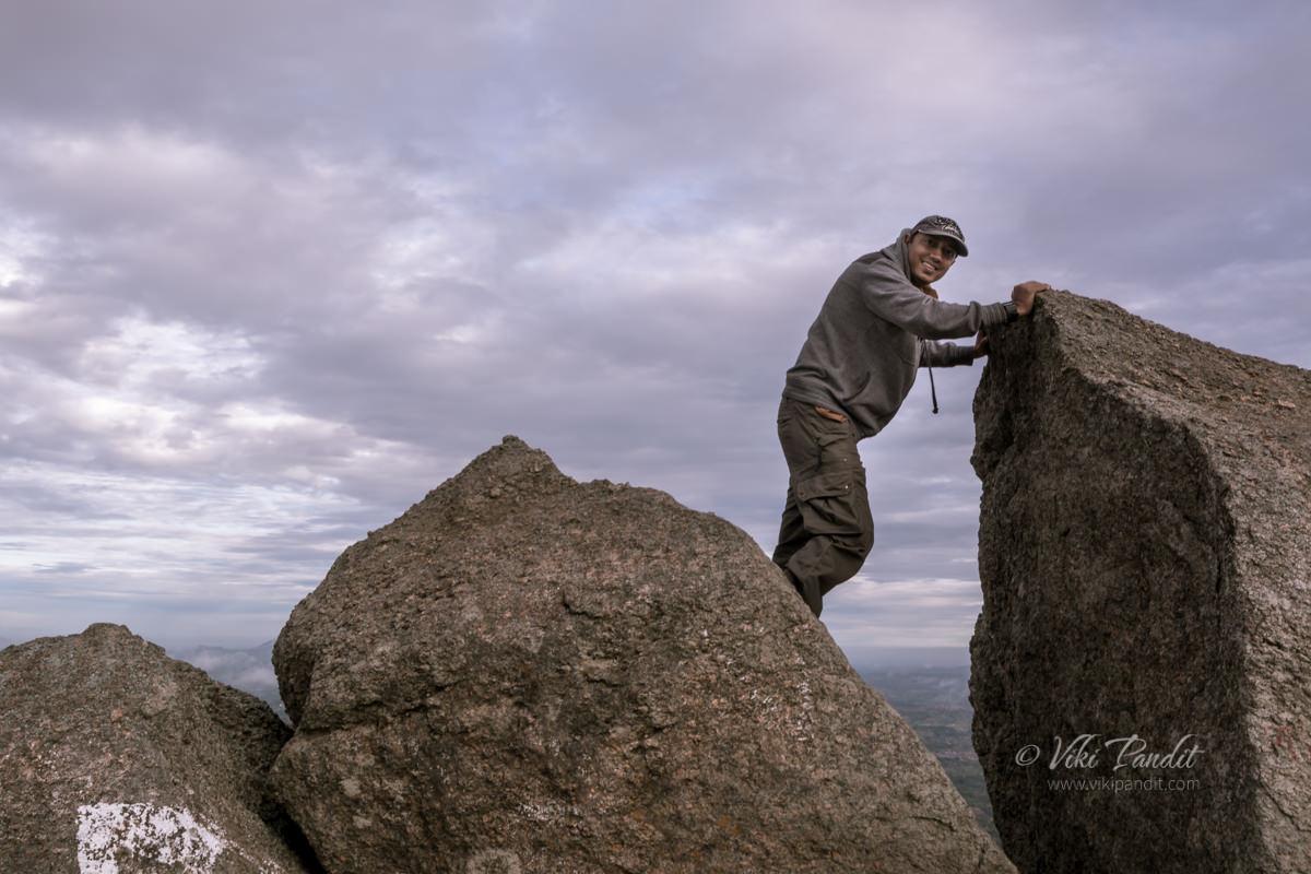 Viki on top of Savandurga