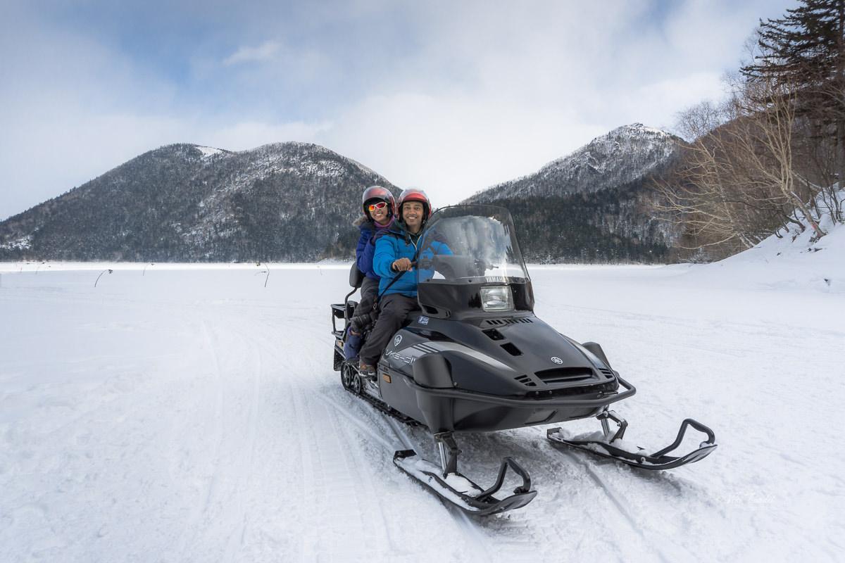Snowmobile rides at Lake Shikaribetsu