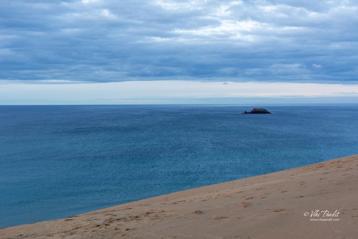 A tiny island off the coast at Tottori Sand Dunes