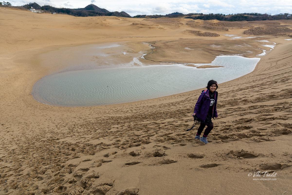 Ranita hiking up Tottori Horse Back Dune
