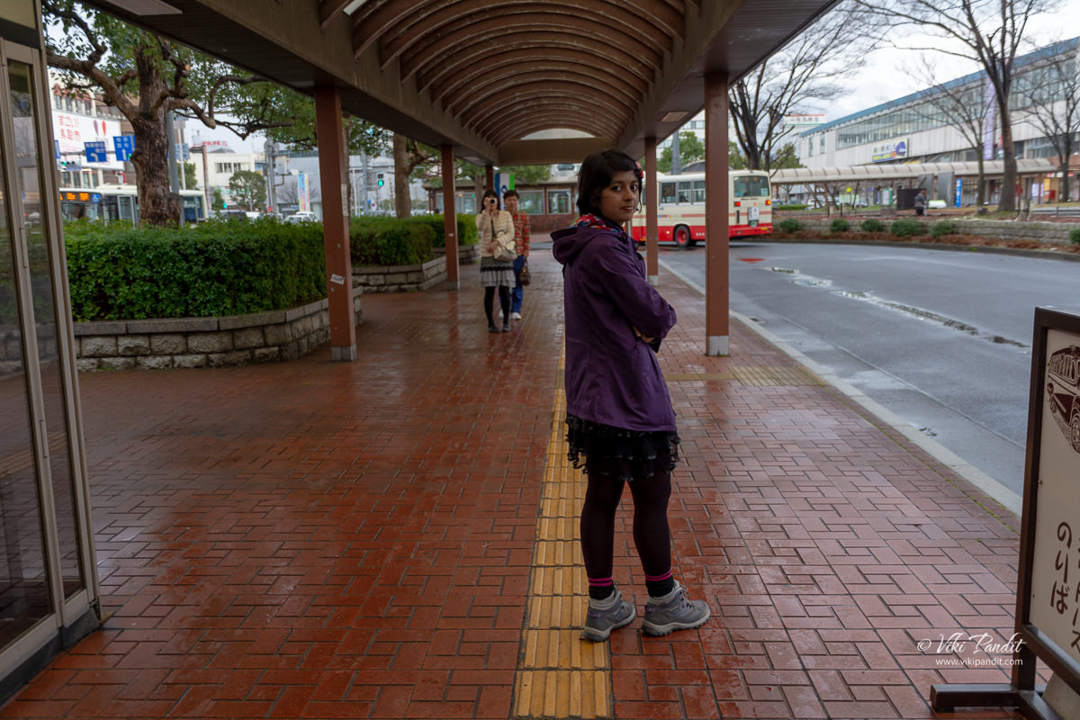 Waiting to catch the bus to Tottori Sand Dunes