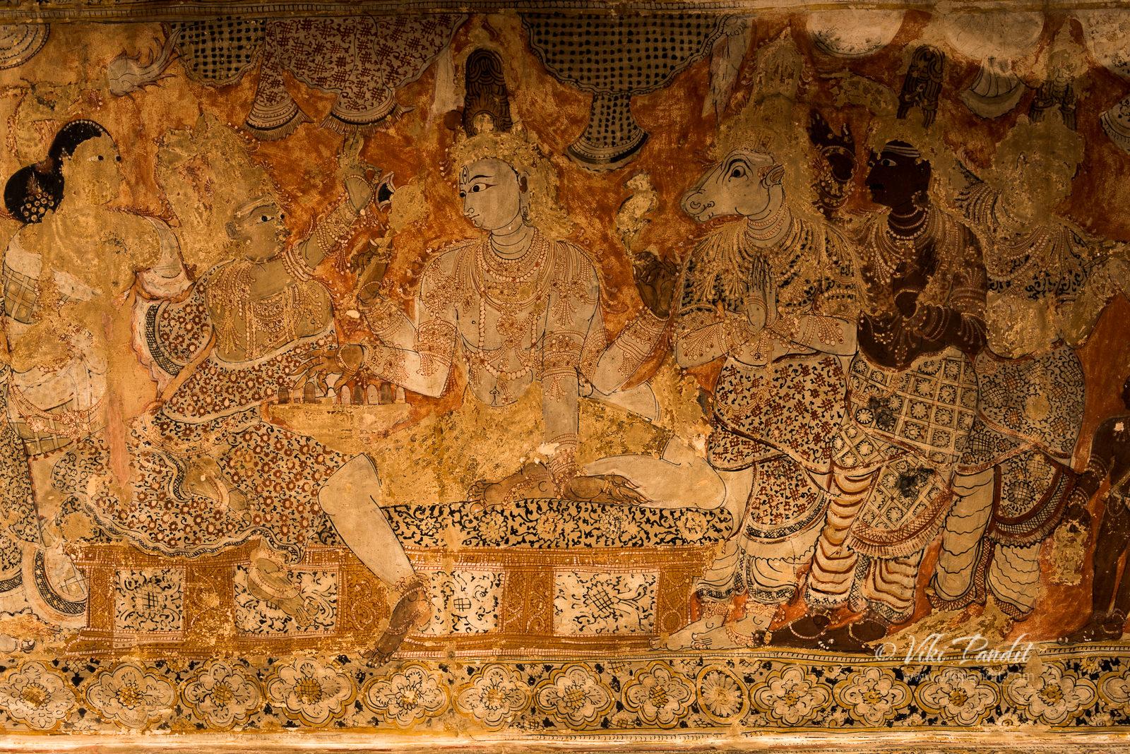 Shiva Marriage Ceremony in ceiling paintings, Veerabhadra Temple
