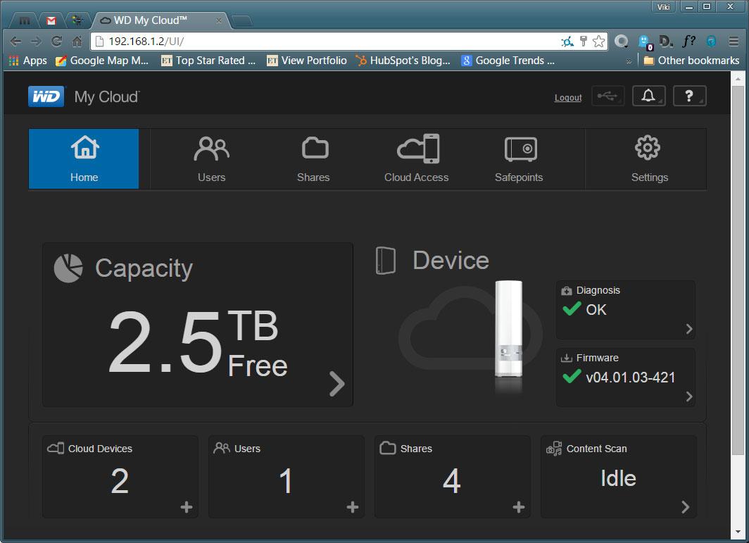 WD MyCloud Web Interface Dashboard