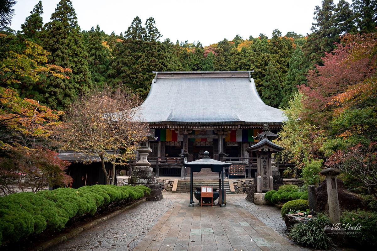 Konpon Chudo or main hall of Risshaku-ji temple in Yamadera
