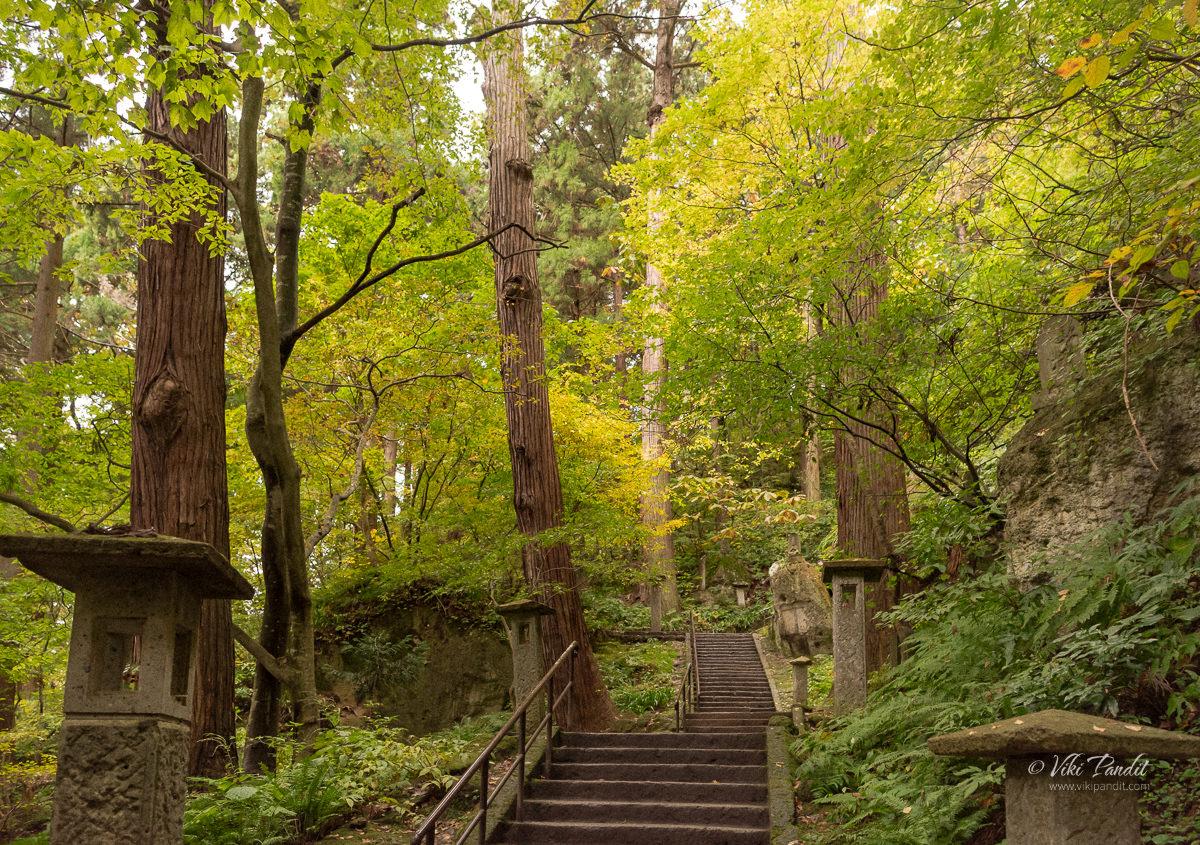 Stairs up the Yamadera Mountain
