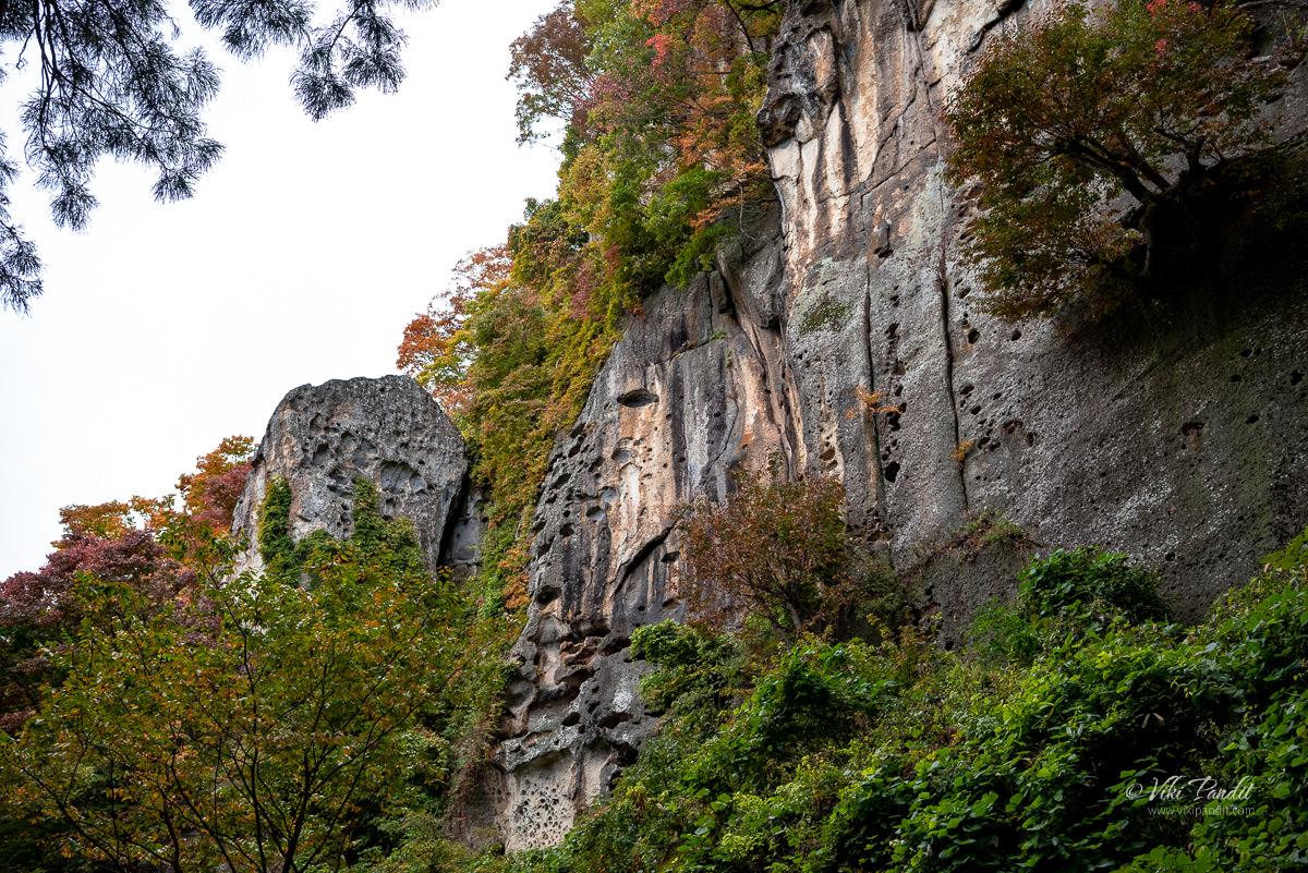 Weathered Rocks on the side of Yamadera