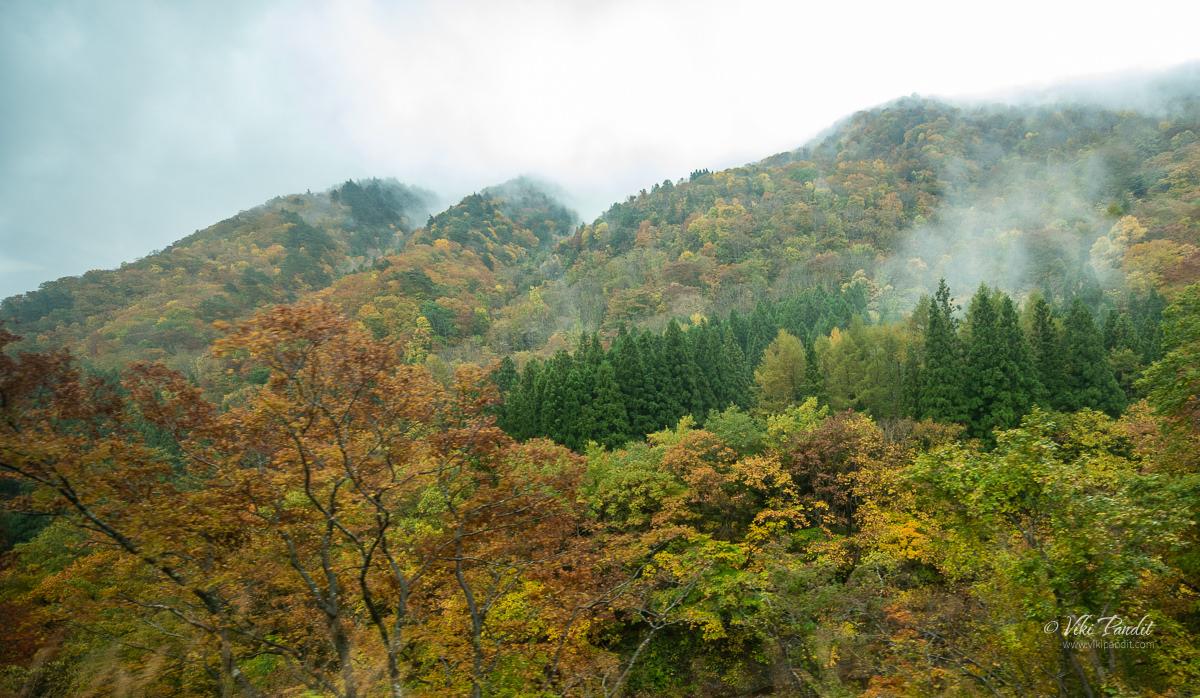 Misty mountains near Yamadera