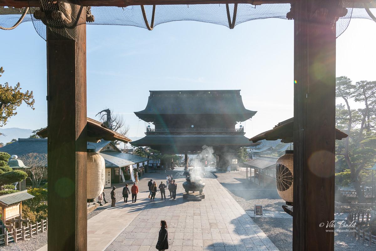 Sanmon Gate as seen from Main hall of Zenko-ji Temple